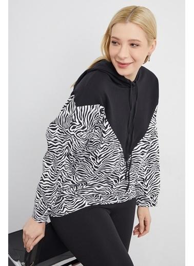 Curly Zebra Desen Sweatshırt Siyah